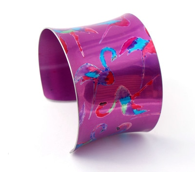 pink flamingo cuff in anodised aluminium