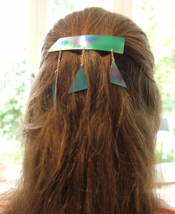 blue and green French made barrette hair clip, colourful hair accessories