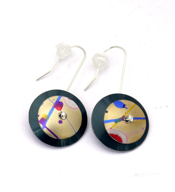 red blue green gold pink turquoise large statement anodised aluminium earrings