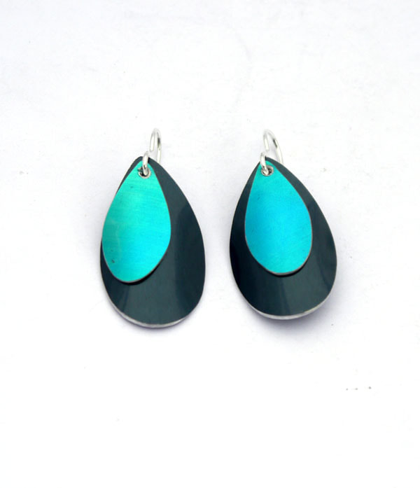 black blue green gold pink turquoise large statement anodised aluminium earrings